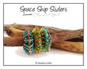 Beading Pattern, Instructions, Tutorial, Right Angle Weave, RAW Beaded Spikes,  Bugle Beads, Slide on Beads, Instant Download SPACE SHIPS
