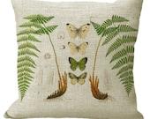 Ferns & Butterflies Square or Lumbar Oblong in Choice of 16x16 18x18 20x20 22x22 24x24 26x26 18x12 20x13 22x12 24x16 Inch Pillow Cover
