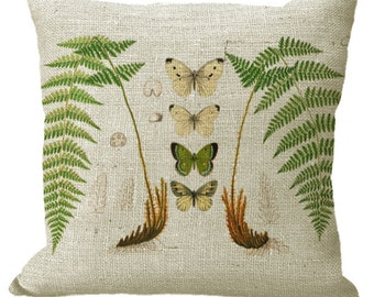 Ferns & Butterflies Square or Lumbar Oblong in Choice of 16x16 18x18 20x20 22x22 24x24 26x26 18x12 20x13 22x12 24x16 Inch Pillow Cover