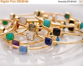 40 OFF - Gemstone Bangles - Stacking Bangles - Gold Bracelets - Gold Bangles - Stackable Bangles - Birthstone Bangle