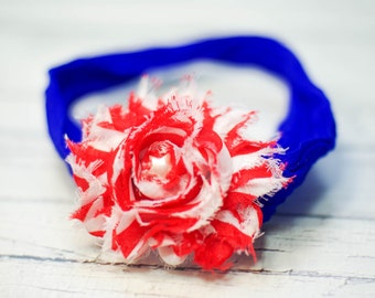 Red White and Blue Patriotic // Super Soft Nylon Baby Headband, BABY HEADBAND, newborn headband, headband, flower headband, Photography Prop