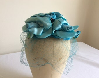 """Vintage Lilly Dache """"Lilly's  Dillys"""" Blue Rose Cocktail Hat with Veil 1960/"""