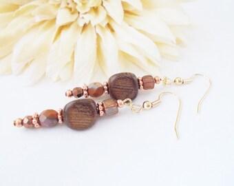 Brown Wood Beaded Earrings, Bohemian Copper and Cocoa Brown Earrings, Crystal and Czech Glass Earrings, Bohochic Earthy Earrings
