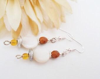 White Boho Earrings, Mother of Pearl, Beaded Earrings, Hypoallergenic, Drop Earrings, Brown Earrings, Czech Glass Earrings, Clip On Earrings