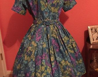 60s Dress/ Vintage 1960s Dress/ Shirtwaist Day Dress