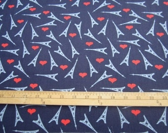 French Lessons Eiffel Towers and Hearts on Navy from Dear Stella fabrics