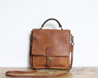 Vintage Coach Bag Distressed // Crossbody Bag // Station Messenger Bag in British Tan // Coach Purse Handbag
