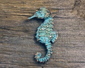 Spring Sale 10% Seahorse Brooch with blue green copper