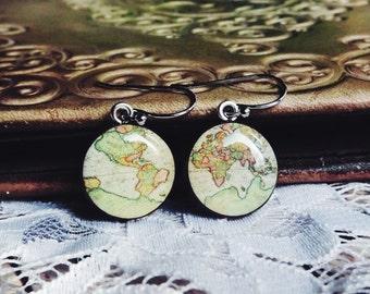 Antique Whole Wide World- Vintage World Map Dangle Earrings- Antique World Map- Nickel free earrings- Retro Space- Globetrotter