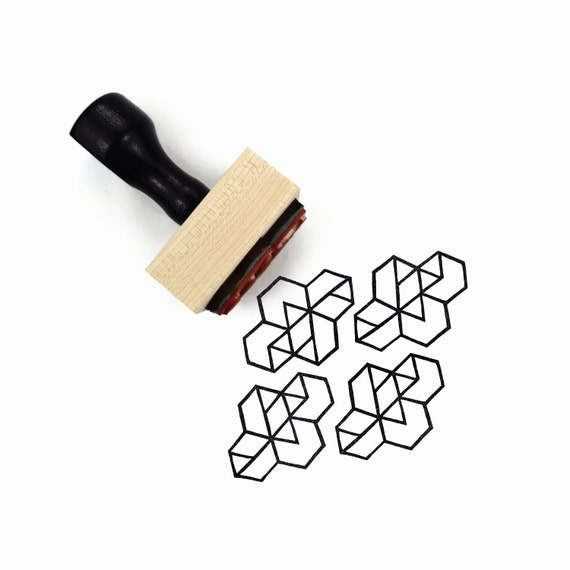 Rubber Stamp Geometric Hexagons - Hand Drawn Pattern Making Stamp