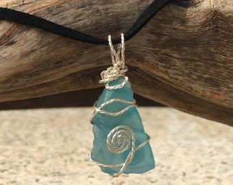 Light Blue Sea Glass Silver Pendant