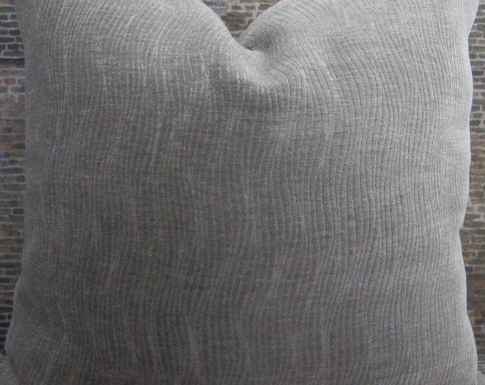 3BM Designer Pillow Cover Lumbar, 16x 16, 18 x18 - Strands Raised Velvet Gray