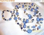 SALE Vintage Blue Clay Beads Long Necklace and Bracelet Set