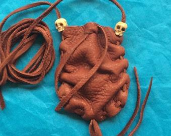 Medicine Bag with Skull Beads, Brown Deerskin Medicine Pouch, Amulet Pouch, Skull Amulet Necklace, Leather Necklace, Shamanic Healing Tool