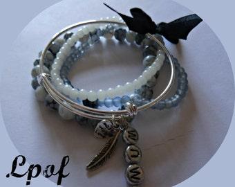 Beaded Bracelet gift for women Personalised Bracelet Personalised Bangle Charm Bracelet Boho Bangle Womens gift Boho Bracelet Bangle Denim