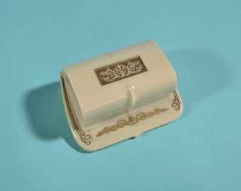 Vintage 1930s Double Ring Box Ring Bearer Cream Gold Wedding Engagement