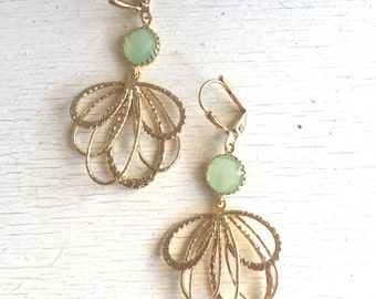 Mint Dangle Earrings in Gold. Mint Multiple Teardrop Gold Drop Earrings.  Mint Jewelry. Bridesmaid Earrings. Gift Her. Chandelier Earrings.