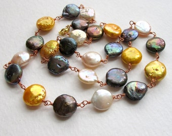 Freshwater Multicolor Coin Pearl Copper Necklace
