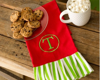 Christmas Holiday Green Stripe Hand Towel - Kitchen Towel - FREE monogramming - Personalized Christmas Gift