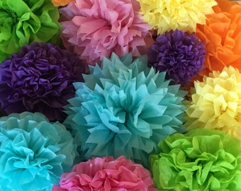 10 Tissue Pom Poms - Candy Land Party Decorations - Colorful Birthday Party decor - Pastel Rainbow Unicorn Party