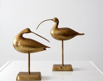 mid-century brass birds, ocean bird, curlews statue pair