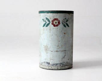 vintage painted floral can