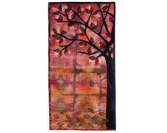 Autumn decor, black tree contemporary textile art, purple pink gold black, Wall Hanging, autumnal colors, falling leaves, warm colors