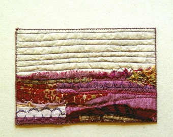 Abstract landscape in violet and gold postcard, textile art, unique gift for any occasion, one of a kind card, mini art, artful gift, purple