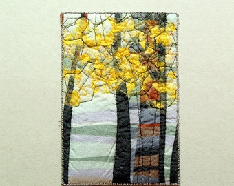 Yellow forest abstract textile art in small format for woodland lovers