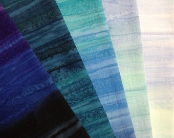 5 Fat Quarter Handpainted Cotton, Anthology Fabrics, Quilting