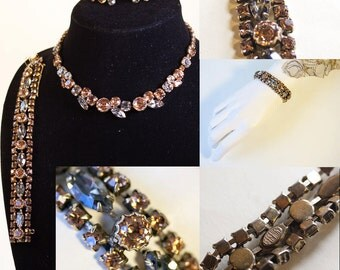 1950's Ultimate Costume Jewelry Set 3 Piece REGENCY Parure, Necklace, Bracelet and Earrings, Fifties Topaz Gunmetal Sparkle Glam Vintage 50s