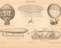 1896 Aviation, Airplanes, Balloons by Montgolfier, Henry Giffard, Charles & Robert, Krebs and Renard, Jusque La Petin Antique Engraving