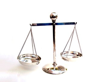 Scales of Justice RESERVED Silver Balance Scale Mid century Modern Decor World Brand American Silverware