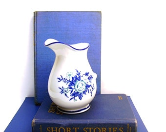 Vintage Blue and White China Porcelain Pitcher Creamer Floral Transferware