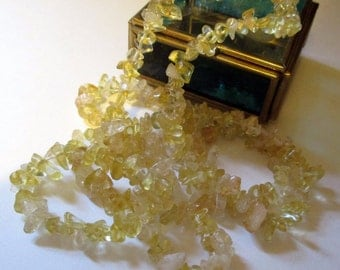 Natural Lemon Yellow Quartz Necklace Single Strand Ex Long