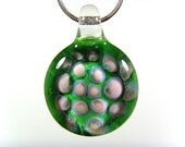 Blown Glass Green and Pink Pendant, Your Choice of Black Satin Cord, Cotton Cord or Sterling Chain