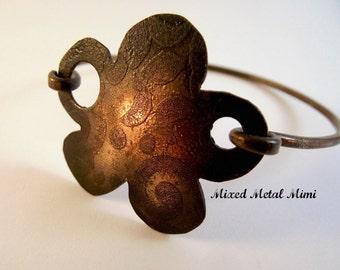 NEW/ Copper Bracelet/ Copper Bangle/ Bangle Bracelet/ Copper Flower/ Flower bracelet- B-590