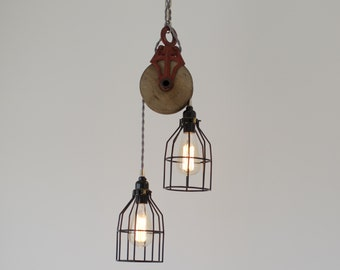 Red Barn Pulley Pendant with Skeleton Cage, Modern Industrial Lighting