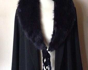 vintage 1980s navy fur collar with silk ties