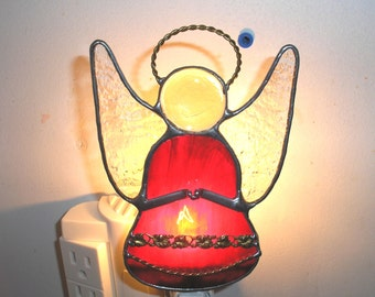 LT Stained glass red Angel night light indoor lighting lamp hand made