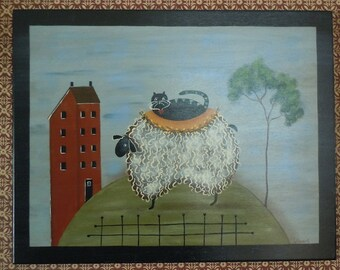 Cat Sheep Primitive Folk Art Plaque House Painted Wooden Wall Hanging