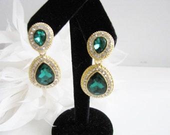 Emerald Green Crystals Rhinestones Bridal Wedding Jewelry Earrings Crystal Bridal Statement Necklace, Gold Crystal Wedding Earrings
