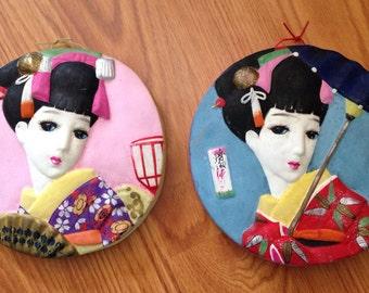 Vintage 1950's Hand Painted Hakata Mimasu Geisha Doll Wall Art Plaques