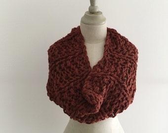 Ultra Bulky Handknit Cowl - Cedarwood Baby Alpaca and Luxury Yarn - Ready to Ship
