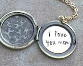 Locket Necklace, Mother's Day Gift, Message Locket, Personalized Locket, Flower Locket, Hand Stamped Message Locket, natashaaloha
