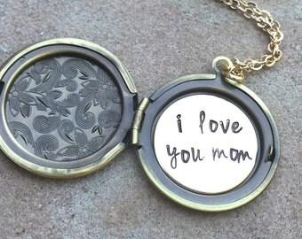Locket Necklace, Message Locket, Personalized Locket, Flower Locket, Hand Stamped Message Locket, natashaaloha