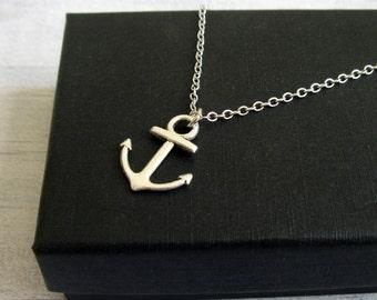 Anchor Pendant Necklace - Unisex Necklace - Silver Nautical Anchor Pendant Necklace - Minimalist pendant necklace