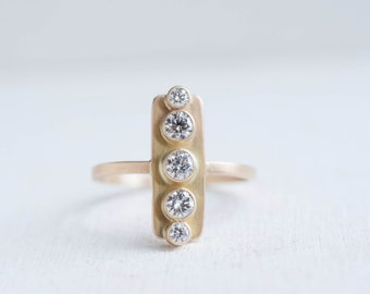 Vertical Diamond Line Ring | 14k Recycled Gold | Diamond Bar Ring