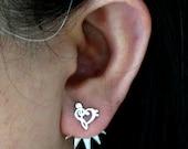 Silver Music Note Ear Jacket Stud Earring - Treble Clef Ear Climber - Earring Pins - Spike Earring Stud