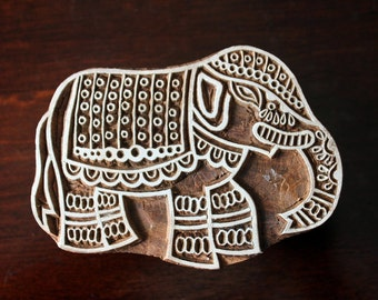 Indian Wood Stamp, Tjaps, Hand Carved stamp, Pottery stamp, Textile Stamp- Indian Elephant